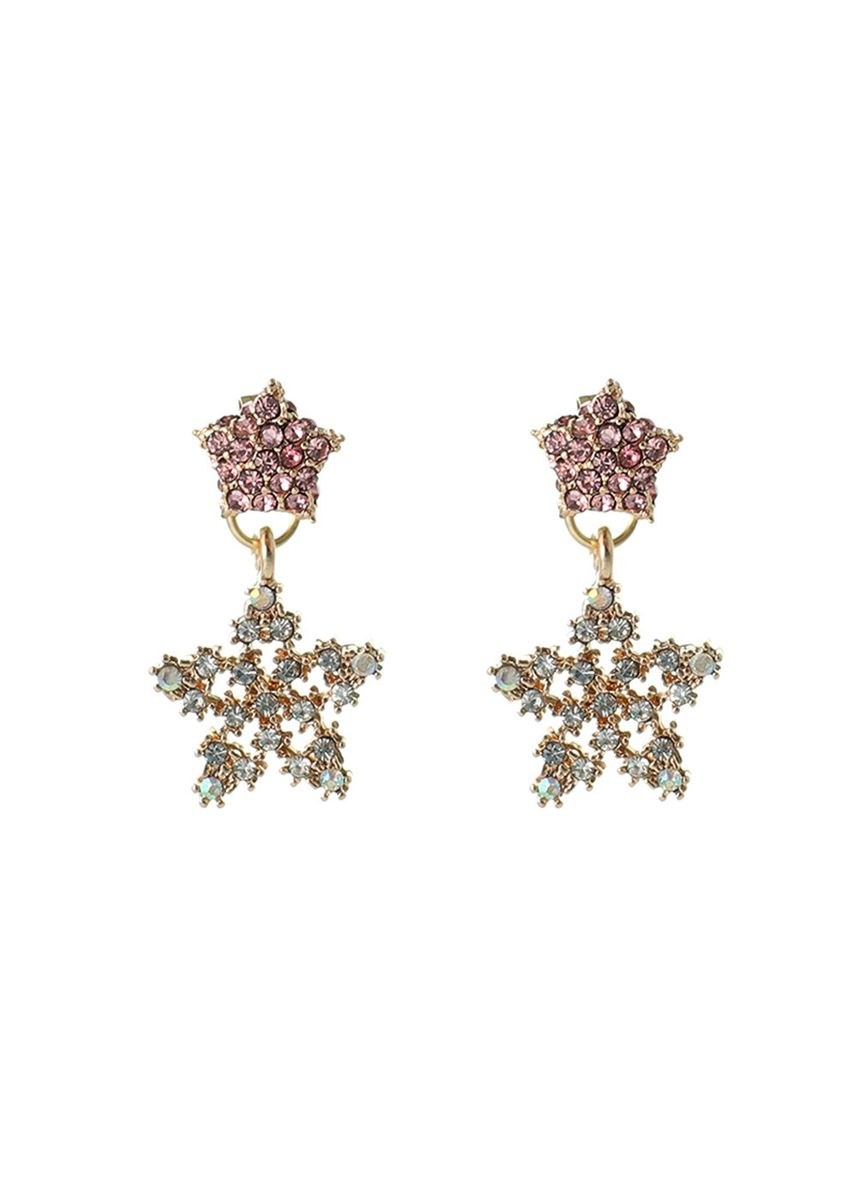 ชมพู color  . MISSYJO New Magical Crystal Star Earrings European and American Romantic Jewelry -