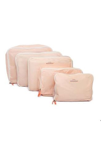 Pink color Travel Wallets & Organizers . Travel Manila 5 in 1 Waterproof Packing Cubes -