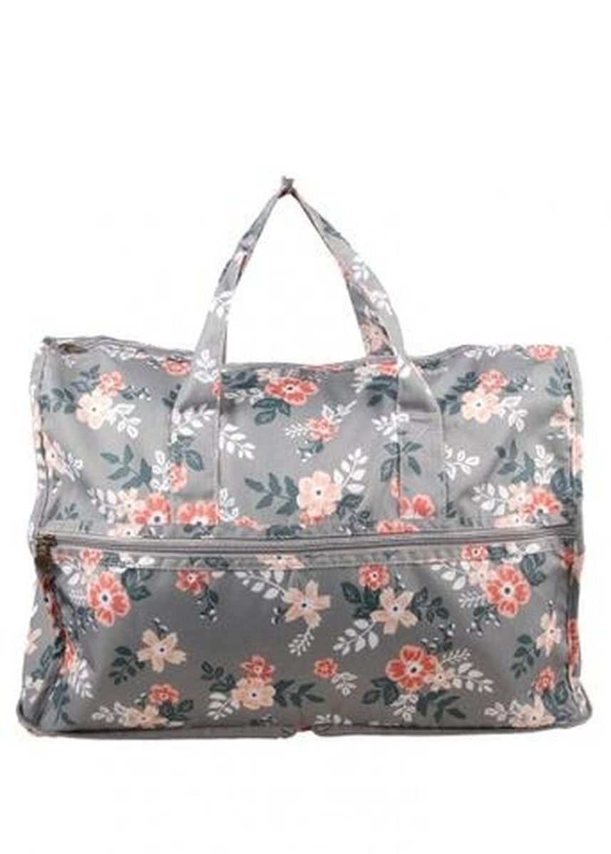 Grey color Travel Wallets & Organizers . Travel Manila Light Grey Floral Lauren Carry on Bag -