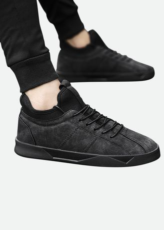 Black color Casual Shoes . Casual Solid Color Sports Shoes -