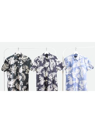 Olive color Casual Shirts . White Leaf Shirt -