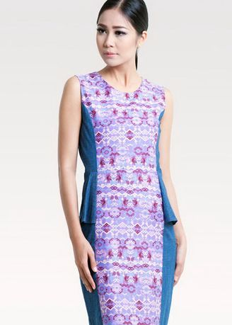 Purple color Dresses . BATEEQ Sleeveless Cotton Dress Mix Denim 16/028 -