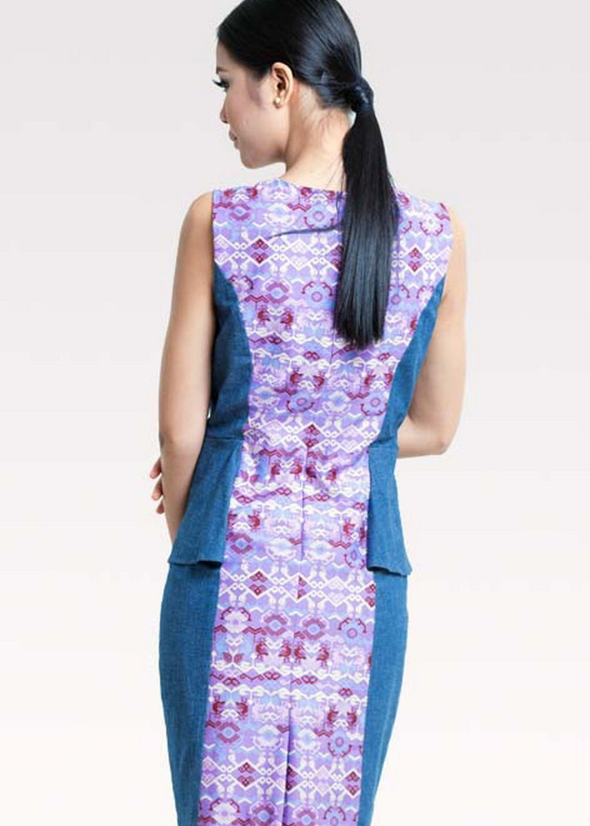 สีม่วง color เดรส . BATEEQ Sleeveless Cotton Dress Mix Denim 16/028 -