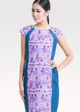 Purple color Dresses .   BATEEQ Short Sleeve Cotton Dress Mix Denim 16/029 -