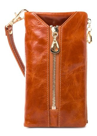 Brown color Wallets and Clutches . McJim Multi Compartment With Key Holder Leather Mid Wallet -