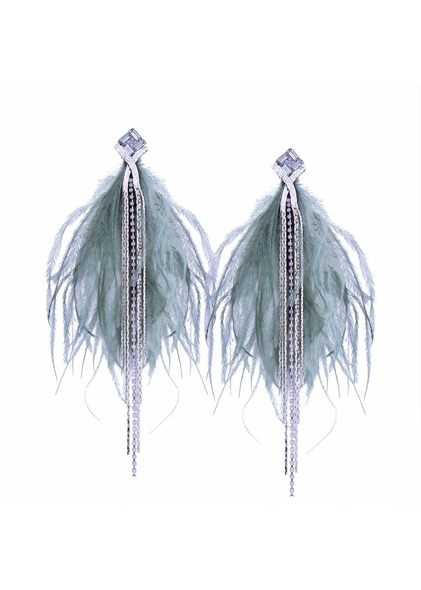 เขียว color  . MISSYJO New Feather And Chain Fashionista Iconic Must-Have Earrings -