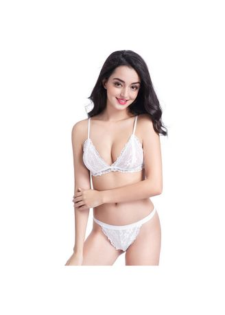 White color Bra Sets . Women's Casual triangle cup lace underwear set -
