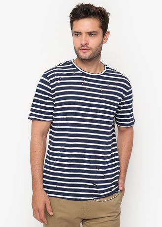 Navy color T-Shirts and Polos . Minarno Stripes 03 S/S Tee -
