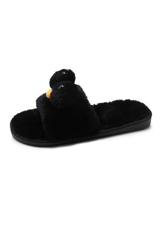 Black color Sandals and Slippers . Female Cartoon  Indoor Home Plush Cotton Drag -