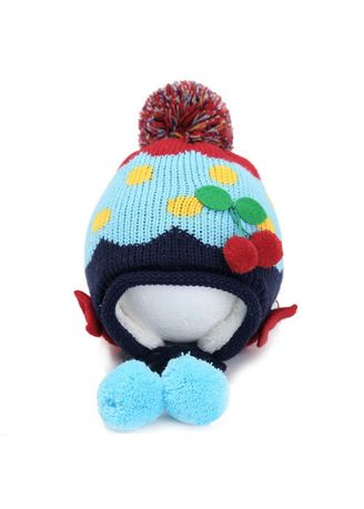 . Cute Cherry Bowknot Fleece Earflap Hat Children Pompom Cap -