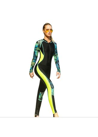 75ce680c075 Women s one-piece diving suit long-sleeved spandex digital printing  snorkeling surf clothing