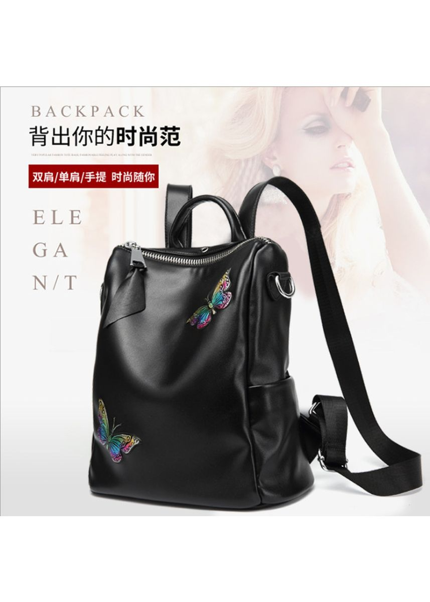 Black color Backpacks . New Ladies Leather Backpack Printed Butterfly Outdoor Travel Leather Back -