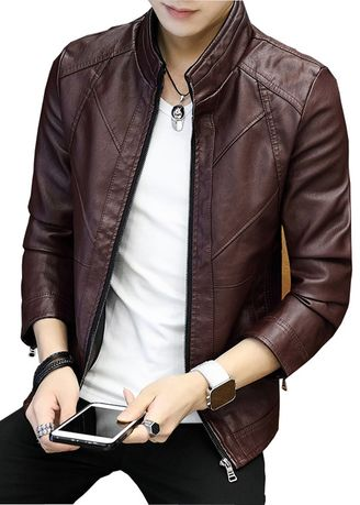 Maroon color Jackets . Solid Fashion Men's Leather Jacket -