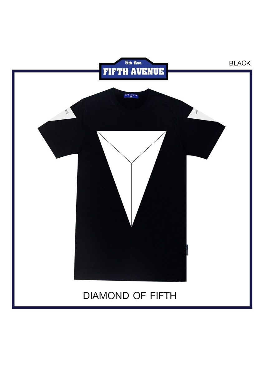 Black color T-Shirts and Polos . 5thave CT Diamond -