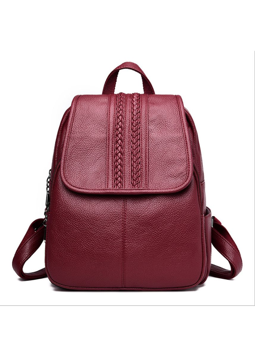 Red color Backpacks . New Anti-Theft Simple Wild Bag Casual Soft Leather Ladies Backpack -