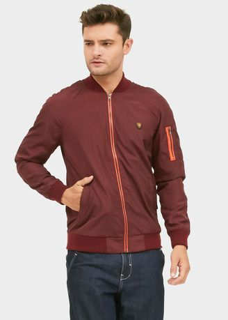 Maroon color Jaket & Coat . EMBA JEANS Men's Jacket, EMBA JEANS Jovino Boomber Jacket in Maroon -