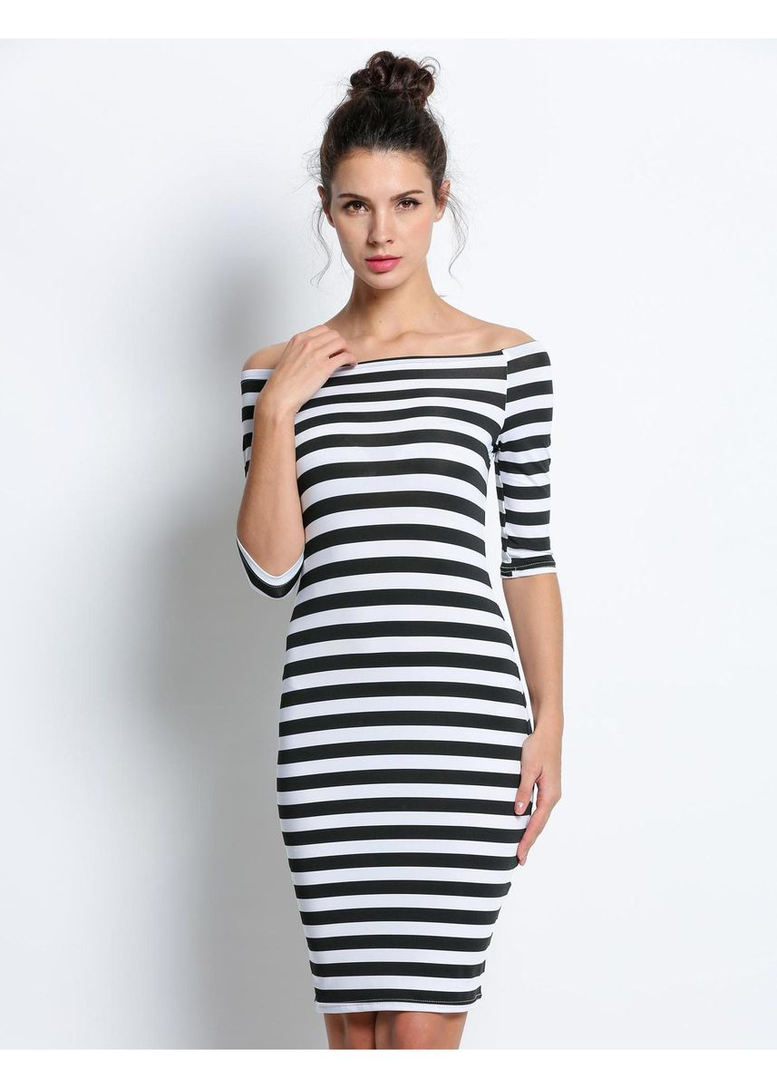 ดำ color เดรส . Slim Fashion Stripe Casual Tube Dresses  -