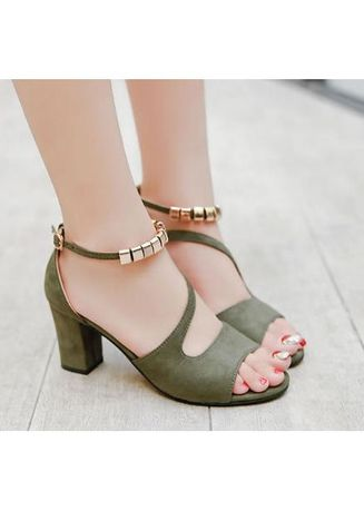 สีเขียวโอลีฟ color รองเท้าลำลอง . Women Korean Fashion Classy Design Casual Open Toes High-heeled Shoes -
