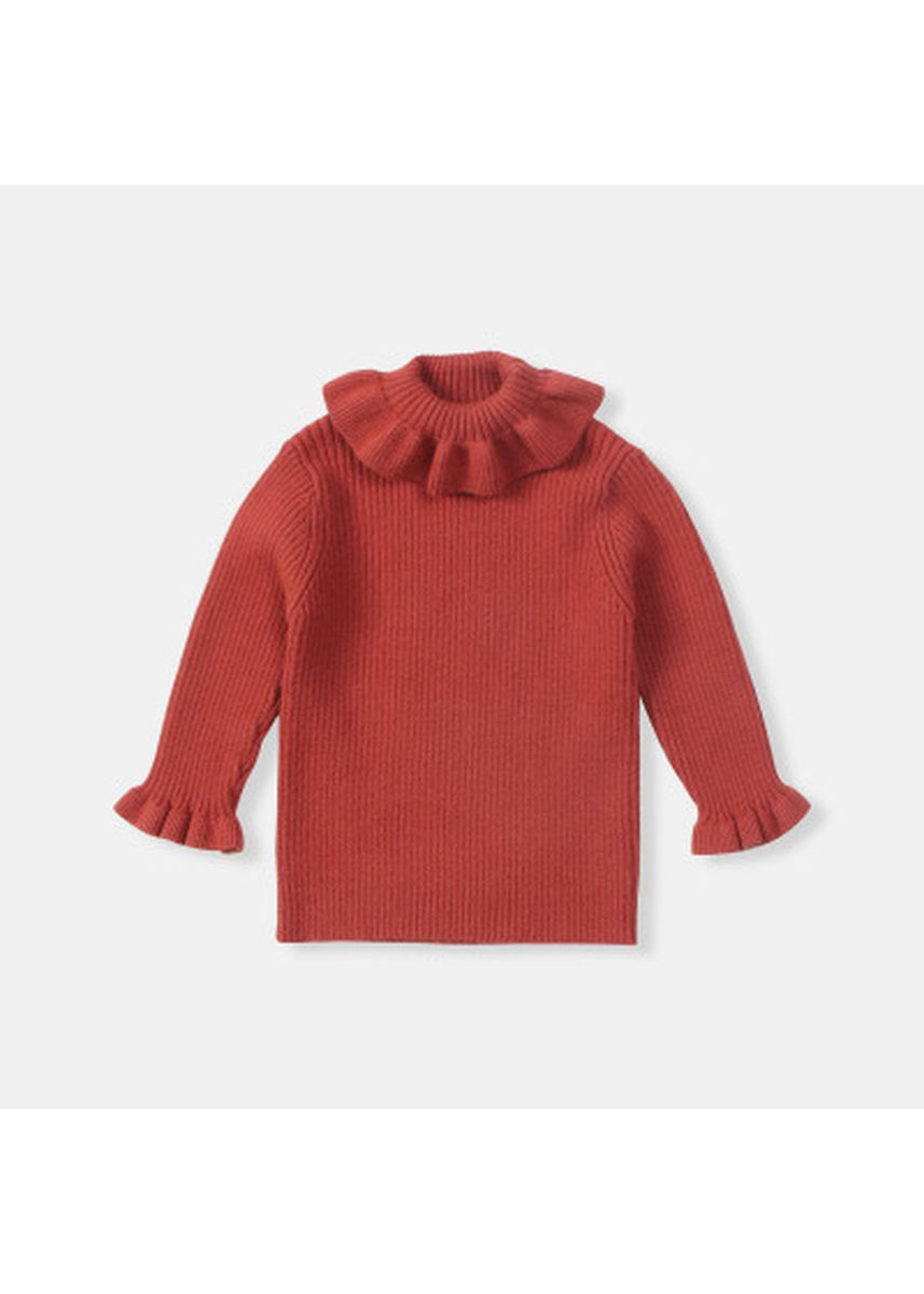แดง color เสื้อ . Unisex baby lotus leaf lapel sweater -