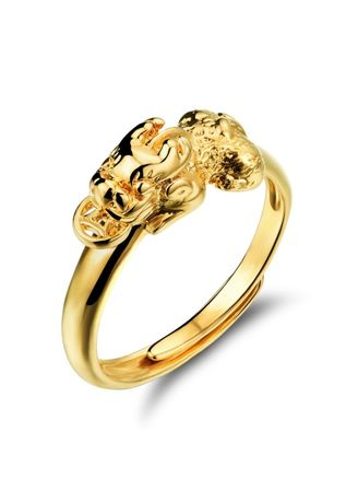 Gold color Rings . 18K Gold Plated Unisex Pixiu Ring (Adjustable) -
