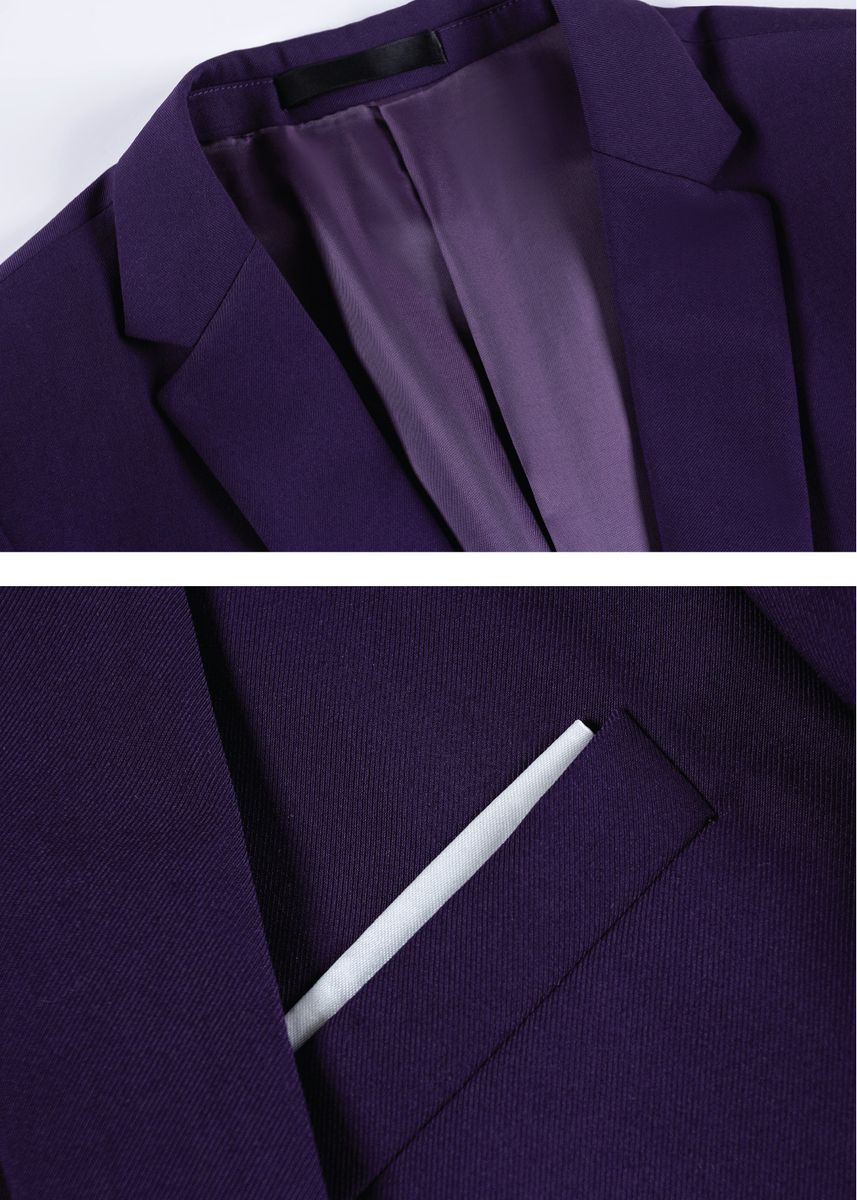 สีม่วง color ชุดเสื้อผ้า . Men's 2 button design 2 piece suit (suit + pants) 3 colors -