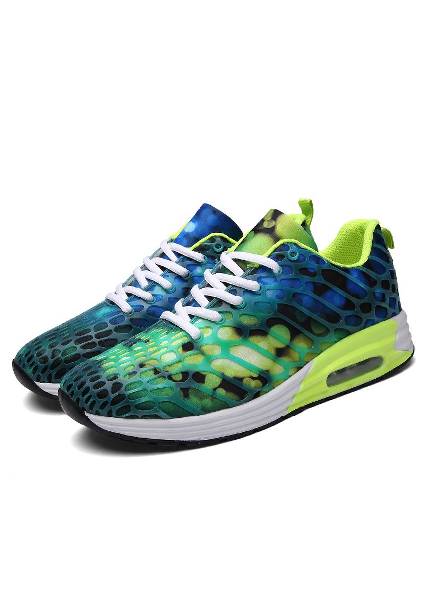 Green color Sports Shoes . Unisex Lovers Air Cushion Joker Mesh Jogging Running Fitness Sneakers -