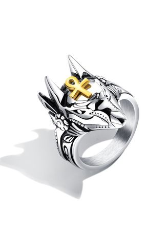 Rings . OPK GJ626 Fashion Anubis Cross Men Steel Titanium Ring -