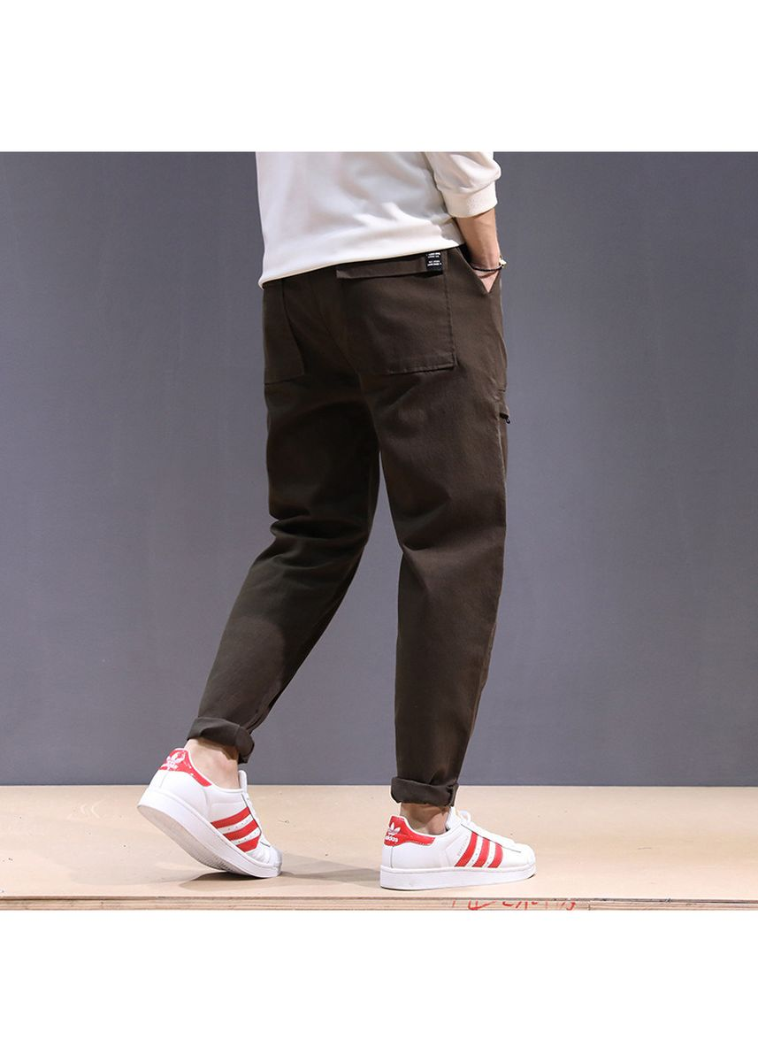 Brown color Casual Trousers and Chinos . Lose Big Size Harem Cotton Men Casual -