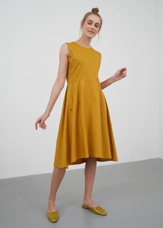Yellow color Dresses . Joan Sleeveless Flare Dress Dark Gold -