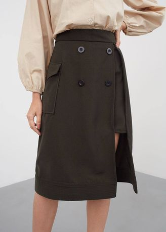 Hijau Olive color Rok . Jean Button Skirt Green -