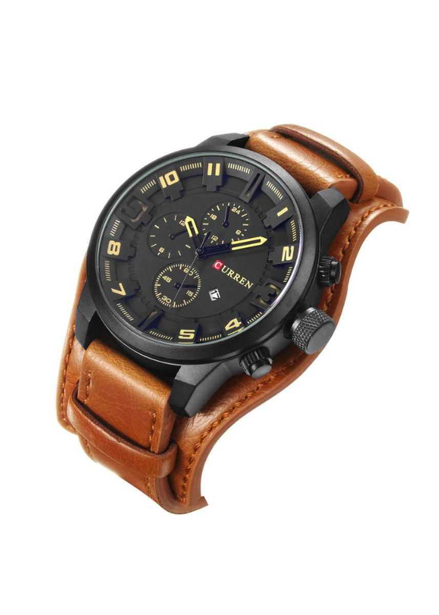 Brown color Chronographs . Men's Watches Calendar Watches Belt Men's Watches Waterproof Watches Quartz Watches -