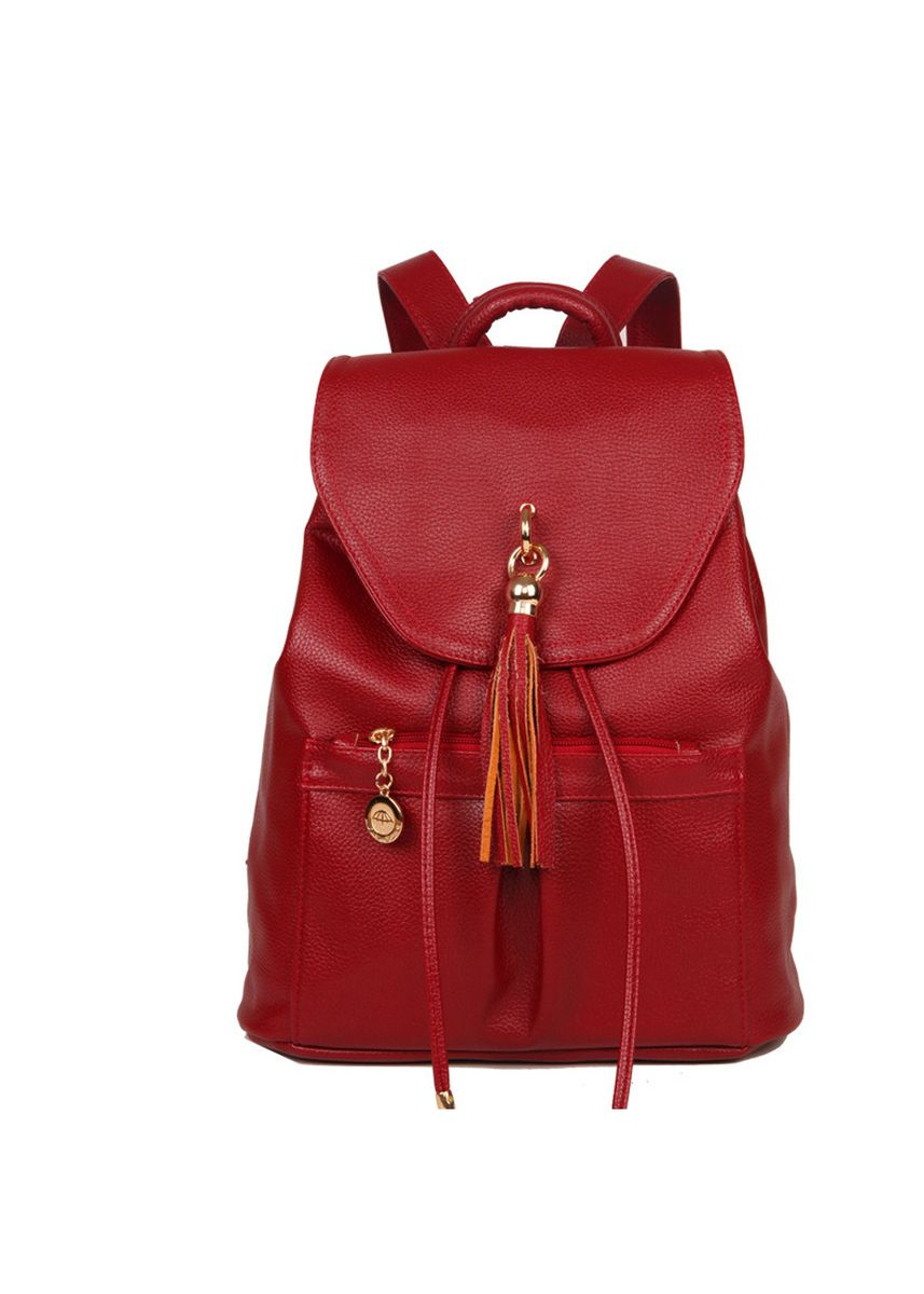 แดง color เป้สะพายหลัง . New Leather Tassel Shoulder Bag Simple Fashion One Shoulder Diagonal Female Bag Travel Backpack -