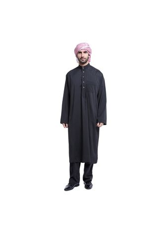 Black color Koko . Super High Quality  Fashion Buckles Men's Muslim Robe -
