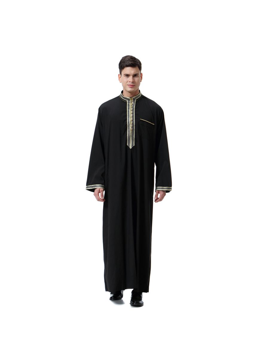 ดำ color Koko . Fashion High Quality Men's Muslim Robe -