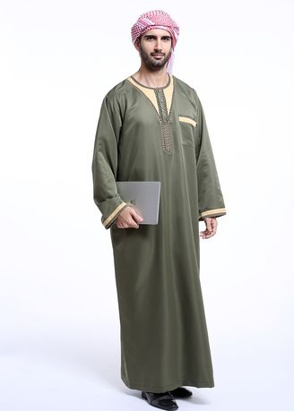 Green color Koko . High Quality Men's Muslim Robe -