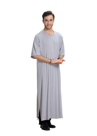 Grey color Koko . Pure Color Men's Muslim Robe -