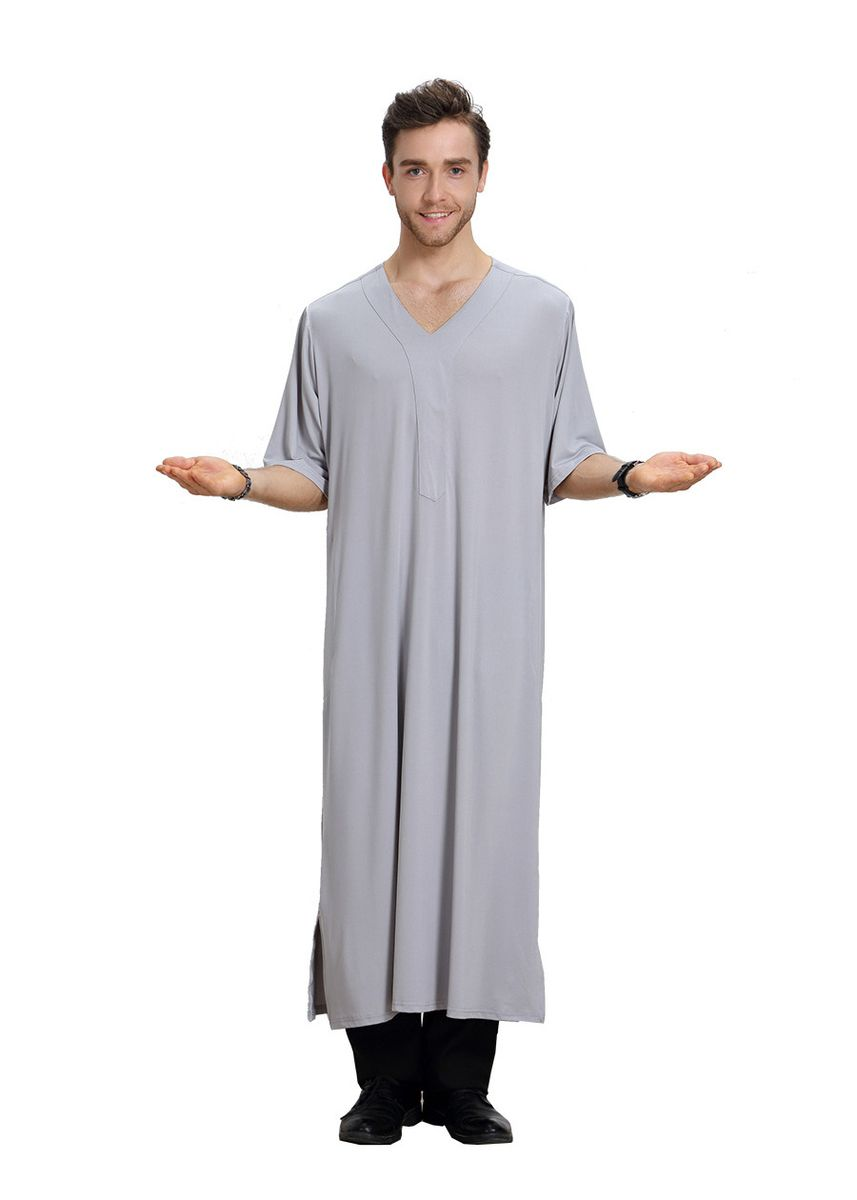 เทา color Koko . Pure Color V Collar Men's Muslim Robe -