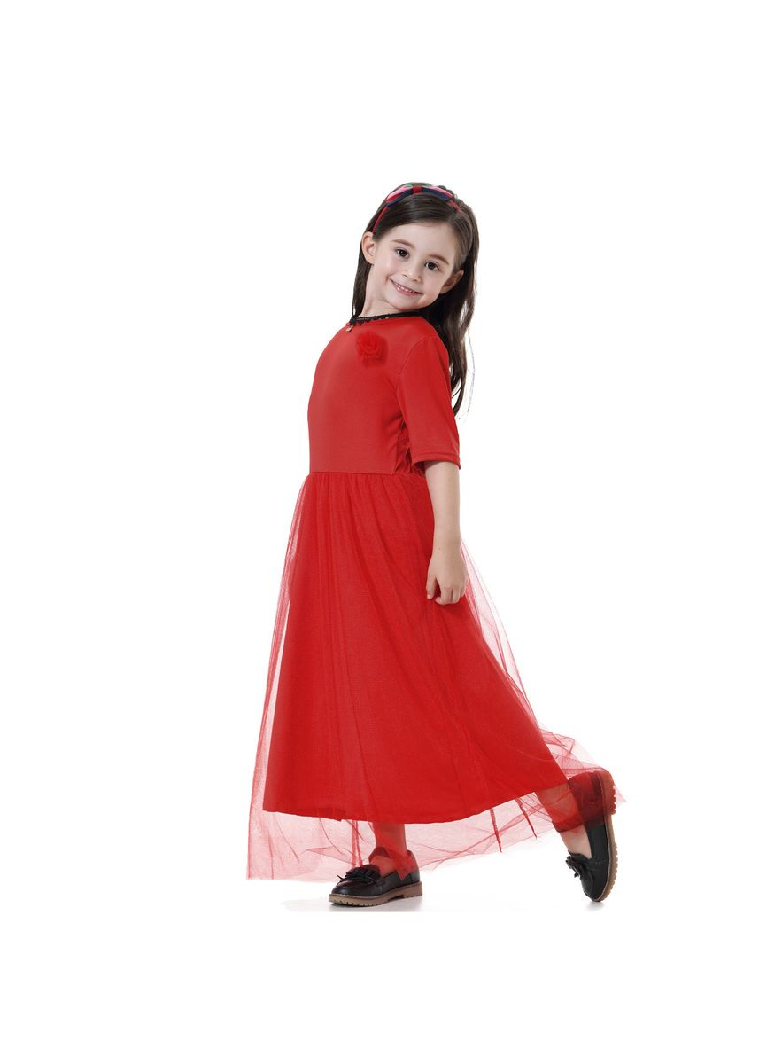 Red color Dresses . Lace Muslim Girl Princess Dress -