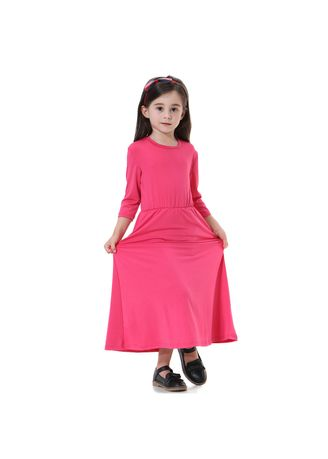 Red color Dresses . Pure Color Muslim Girl Dress -