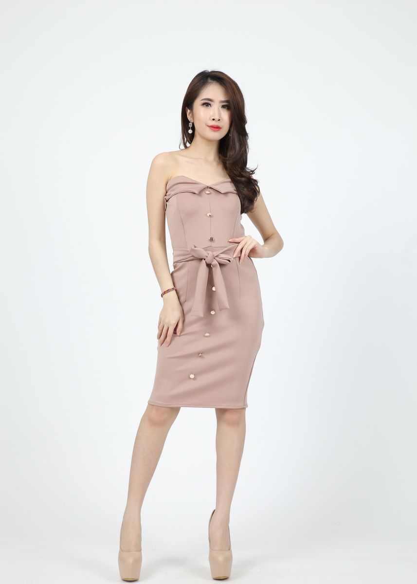 Cokelat color Terusan/Dress . Dress Sienae -