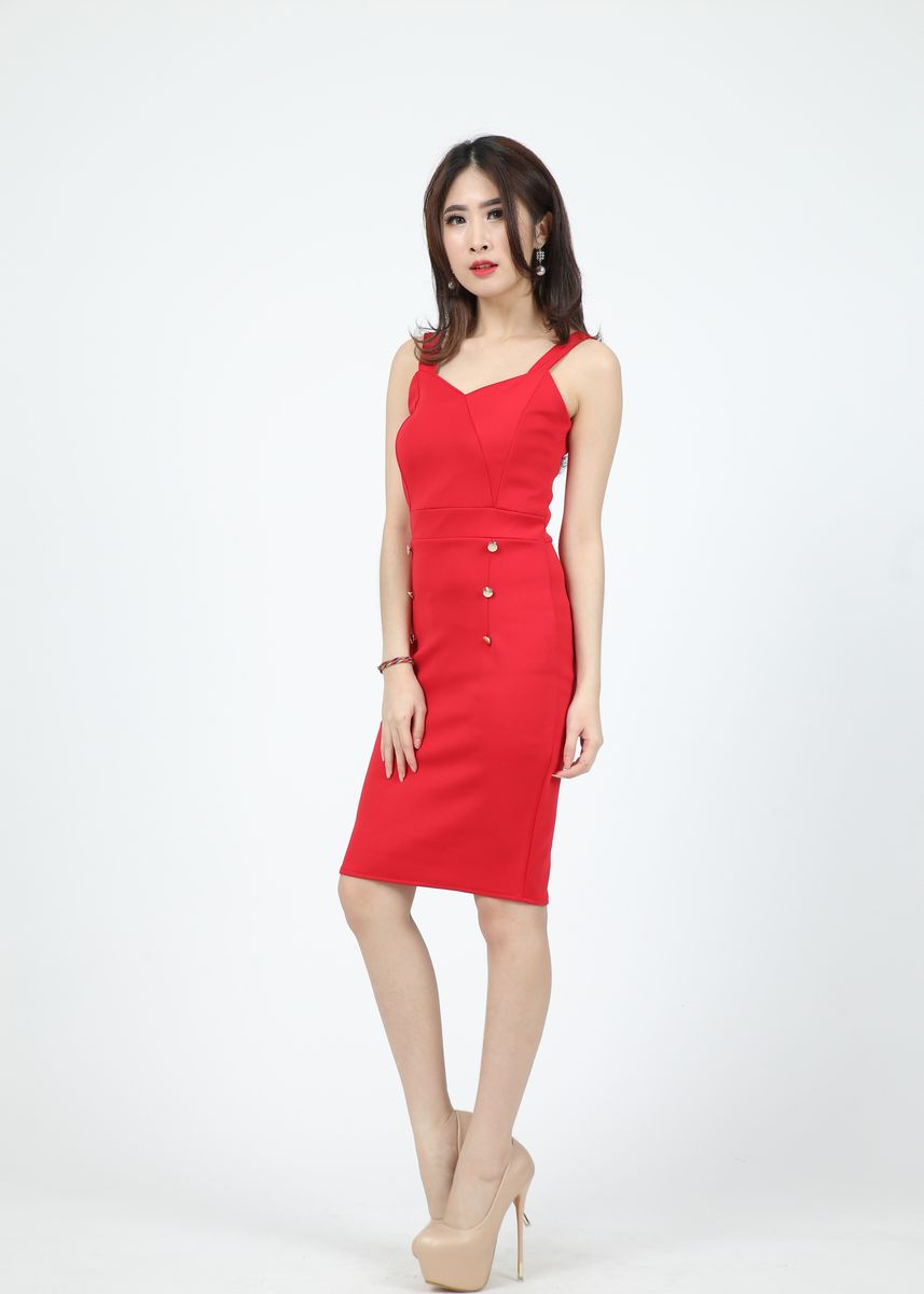 Merah color Terusan/Dress . Dress Nanae -