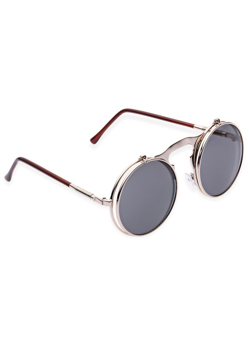 Gold color Sunglasses . Vintage Punk Metal Unisex Color Coated Clamshell Sunglasses UV400 -