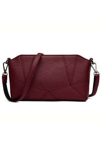 Red color Sling Bags . New Women's Shoulder Bag Spring And Summer Women's Stitching Diagonal Cross Bag Simple Wild Small Square Bag -