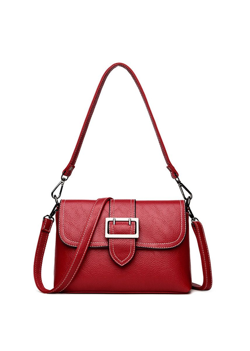 Red color Sling Bags . New Women's Bag Lychee Middle-aged Women's Bag Simple Wild Shoulder Messenger Bag Fashion Handbag Tide -