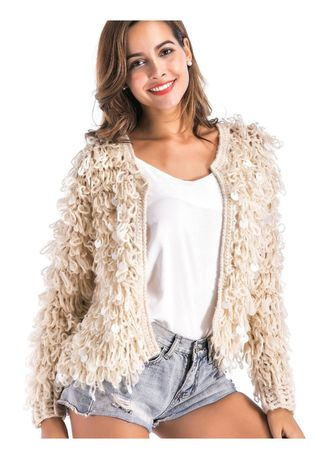 Shrugs . Women Sequins Knit Cardigans Button Cable Sweater Coat -