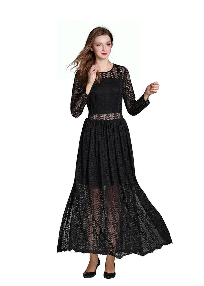 Black color Dresses . Sexy Perspective Lace Dress -