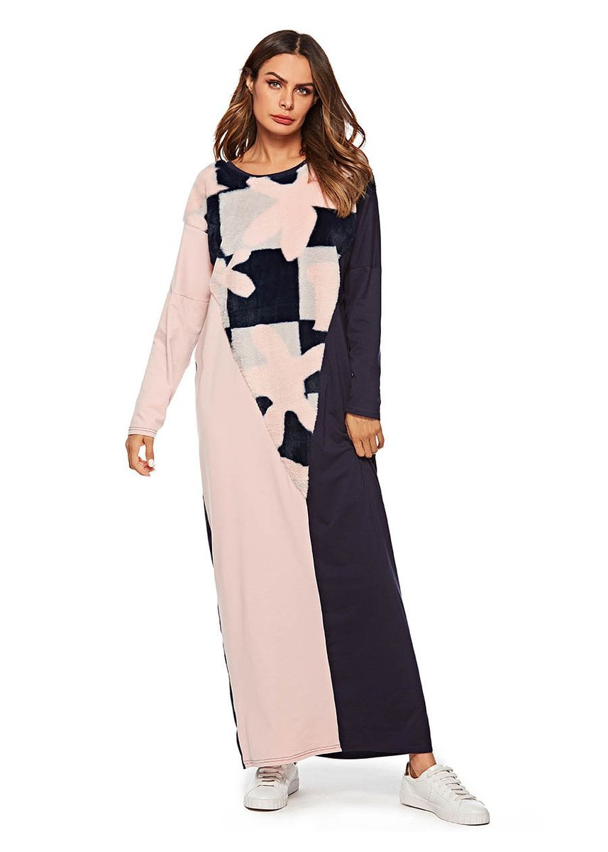 Multi color Dresses . Muslim Gown Knitted Jointed Flannel Long Sleeve Dress -