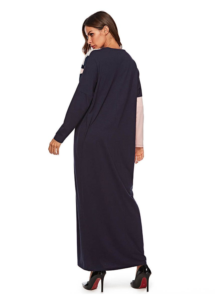Multi color Plus Size Fashion . Plus Size Fashion Muslim Gown Knitted Jointed Flannel Long Sleeve Dress -