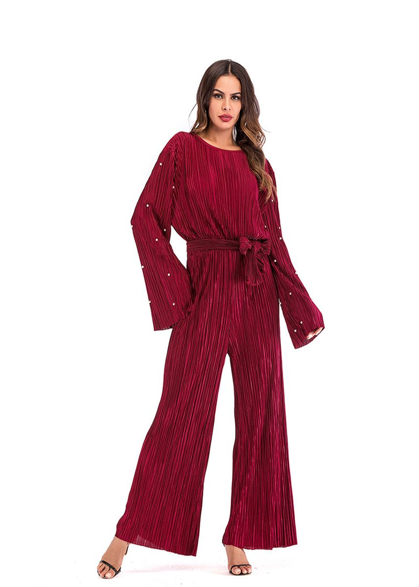 Red color Jump Suits . Chemise Bell-bottom Jump Suits -