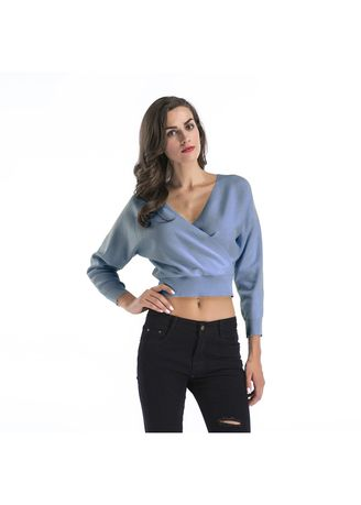 Light Blue color Tops and Tunics . Fashion V Collar Knited Top Sweater -